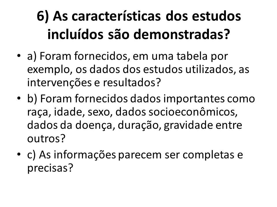 6) As características dos estudos incluídos são demonstradas.
