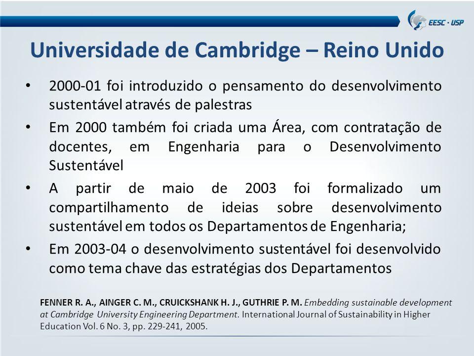 Universidade de Cambridge – Reino Unido 2000-01 foi introduzido o pensamento do desenvolvimento sustentável através de palestras Em 2000 também foi criada uma Área, com contratação de docentes, em Engenharia para o Desenvolvimento Sustentável A partir de maio de 2003 foi formalizado um compartilhamento de ideias sobre desenvolvimento sustentável em todos os Departamentos de Engenharia; Em 2003-04 o desenvolvimento sustentável foi desenvolvido como tema chave das estratégias dos Departamentos FENNER R.