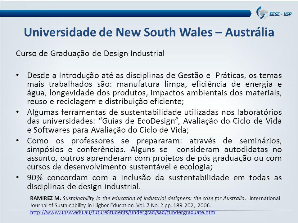 Universidade de New South Wales – Austrália Curso de Graduação de Design Industrial Desde a Introdução até as disciplinas de Gestão e Práticas, os tem