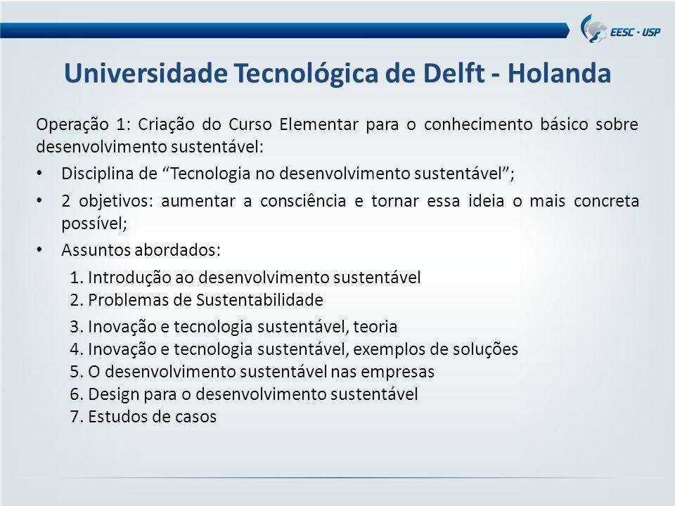 Universidade Tecnológica de Delft - Holanda Operação 1: Criação do Curso Elementar para o conhecimento básico sobre desenvolvimento sustentável: Disci