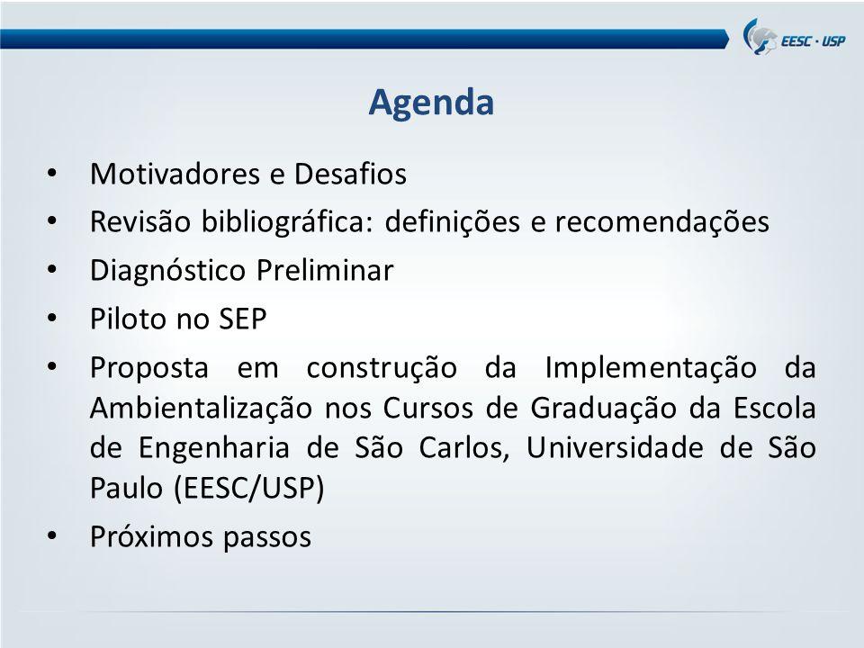 Motivadores e Desafios Revisão bibliográfica: definições e recomendações Diagnóstico Preliminar Piloto no SEP Proposta em construção da Implementação da Ambientalização nos Cursos de Graduação da Escola de Engenharia de São Carlos, Universidade de São Paulo (EESC/USP) Próximos passos Agenda