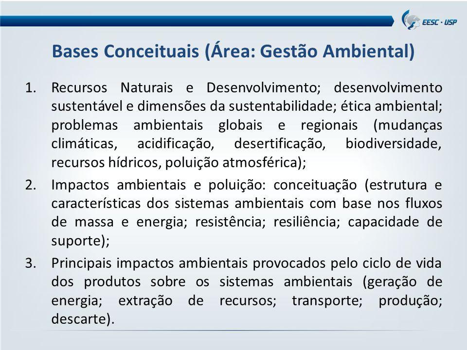 Bases Conceituais (Área: Gestão Ambiental) 1.Recursos Naturais e Desenvolvimento; desenvolvimento sustentável e dimensões da sustentabilidade; ética ambiental; problemas ambientais globais e regionais (mudanças climáticas, acidificação, desertificação, biodiversidade, recursos hídricos, poluição atmosférica); 2.Impactos ambientais e poluição: conceituação (estrutura e características dos sistemas ambientais com base nos fluxos de massa e energia; resistência; resiliência; capacidade de suporte); 3.Principais impactos ambientais provocados pelo ciclo de vida dos produtos sobre os sistemas ambientais (geração de energia; extração de recursos; transporte; produção; descarte).