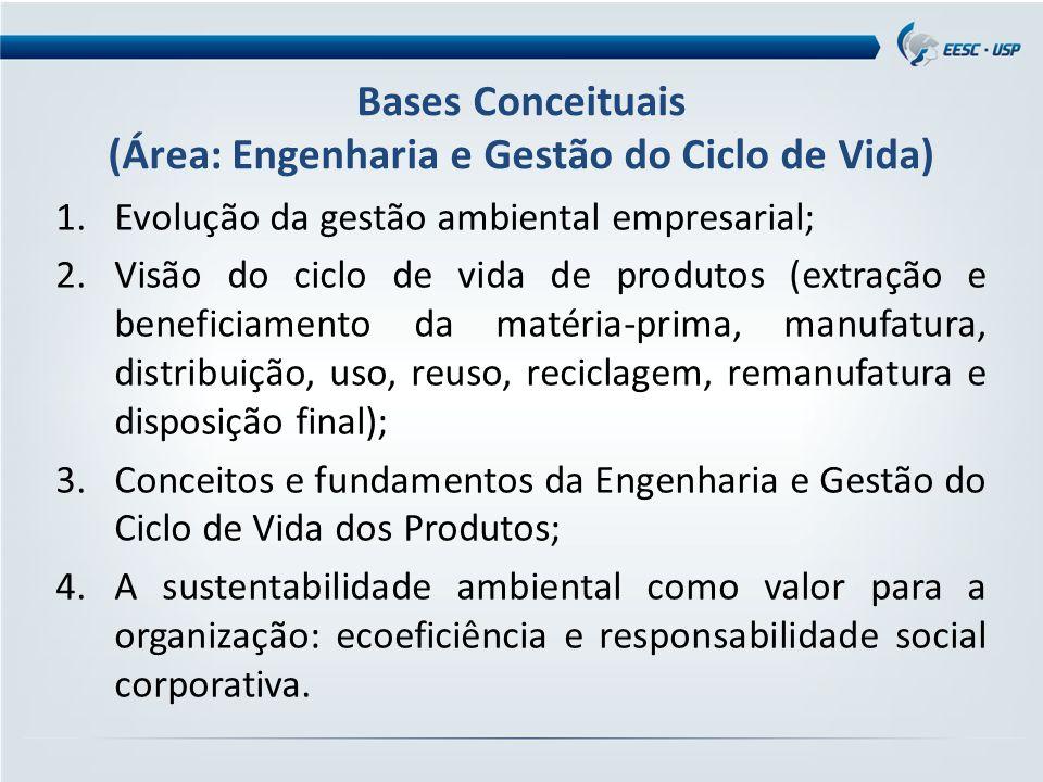 Bases Conceituais (Área: Engenharia e Gestão do Ciclo de Vida) 1.Evolução da gestão ambiental empresarial; 2.Visão do ciclo de vida de produtos (extração e beneficiamento da matéria-prima, manufatura, distribuição, uso, reuso, reciclagem, remanufatura e disposição final); 3.Conceitos e fundamentos da Engenharia e Gestão do Ciclo de Vida dos Produtos; 4.A sustentabilidade ambiental como valor para a organização: ecoeficiência e responsabilidade social corporativa.