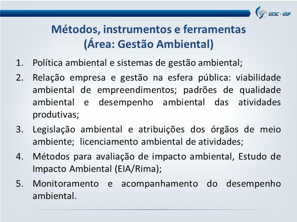 Métodos, instrumentos e ferramentas (Área: Gestão Ambiental) 1.Política ambiental e sistemas de gestão ambiental; 2.Relação empresa e gestão na esfera pública: viabilidade ambiental de empreendimentos; padrões de qualidade ambiental e desempenho ambiental das atividades produtivas; 3.Legislação ambiental e atribuições dos órgãos de meio ambiente; licenciamento ambiental de atividades; 4.Métodos para avaliação de impacto ambiental, Estudo de Impacto Ambiental (EIA/Rima); 5.Monitoramento e acompanhamento do desempenho ambiental.