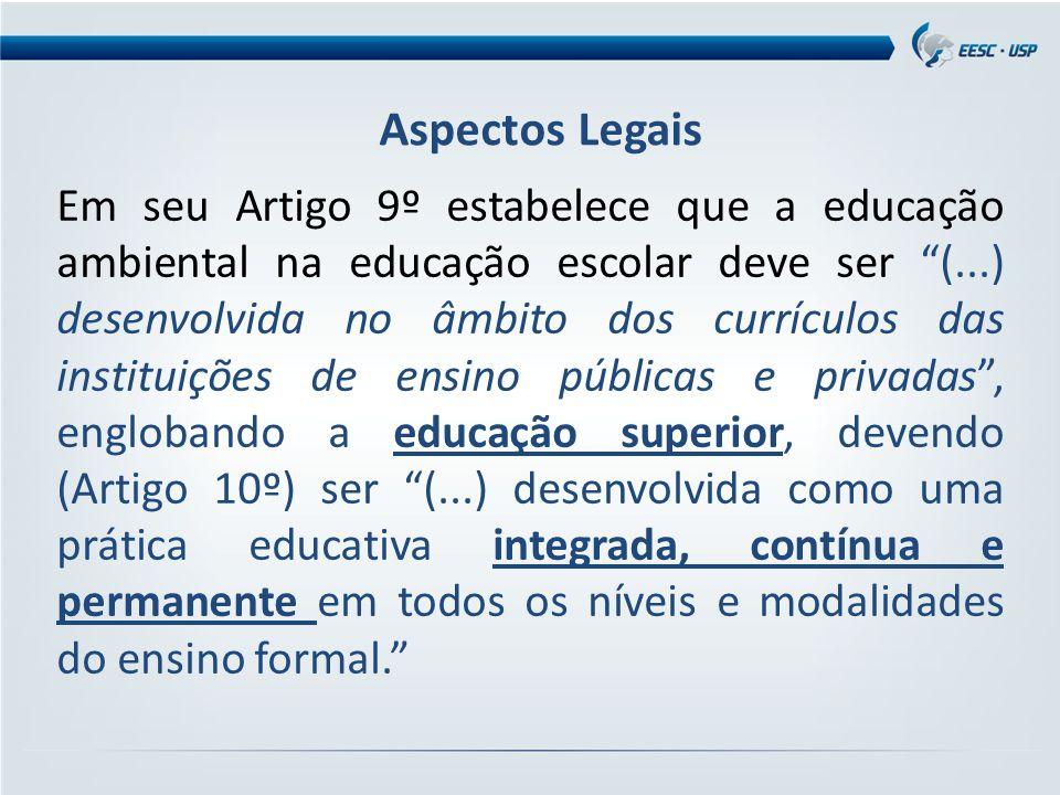 """Em seu Artigo 9º estabelece que a educação ambiental na educação escolar deve ser """"(...) desenvolvida no âmbito dos currículos das instituições de ens"""