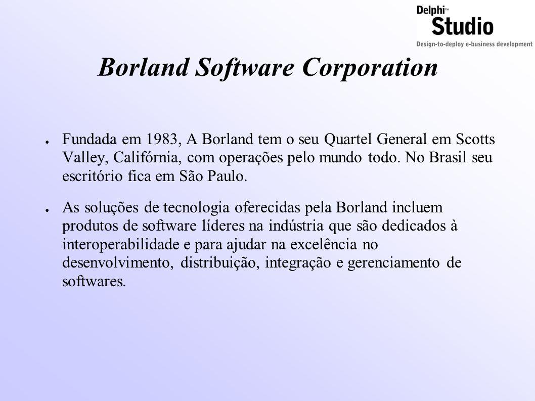 Borland Software Corporation ● Fundada em 1983, A Borland tem o seu Quartel General em Scotts Valley, Califórnia, com operações pelo mundo todo.