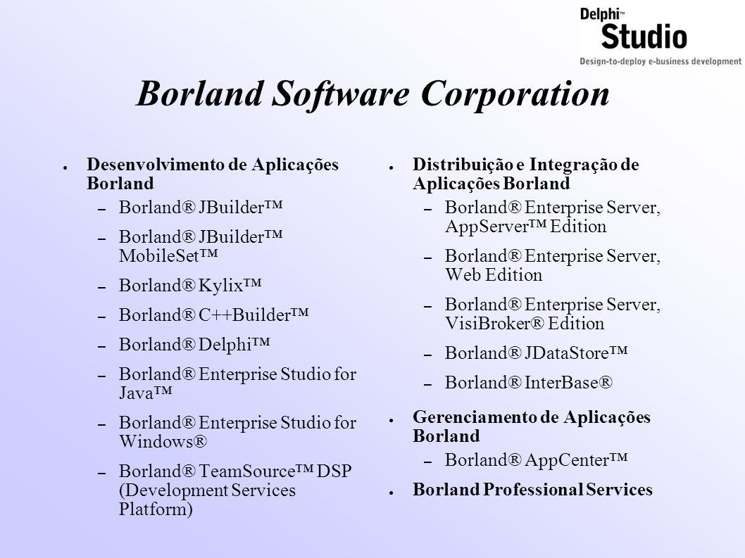 Borland Software Corporation ● Desenvolvimento de Aplicações Borland – Borland® JBuilder™ – Borland® JBuilder™ MobileSet™ – Borland® Kylix™ – Borland®