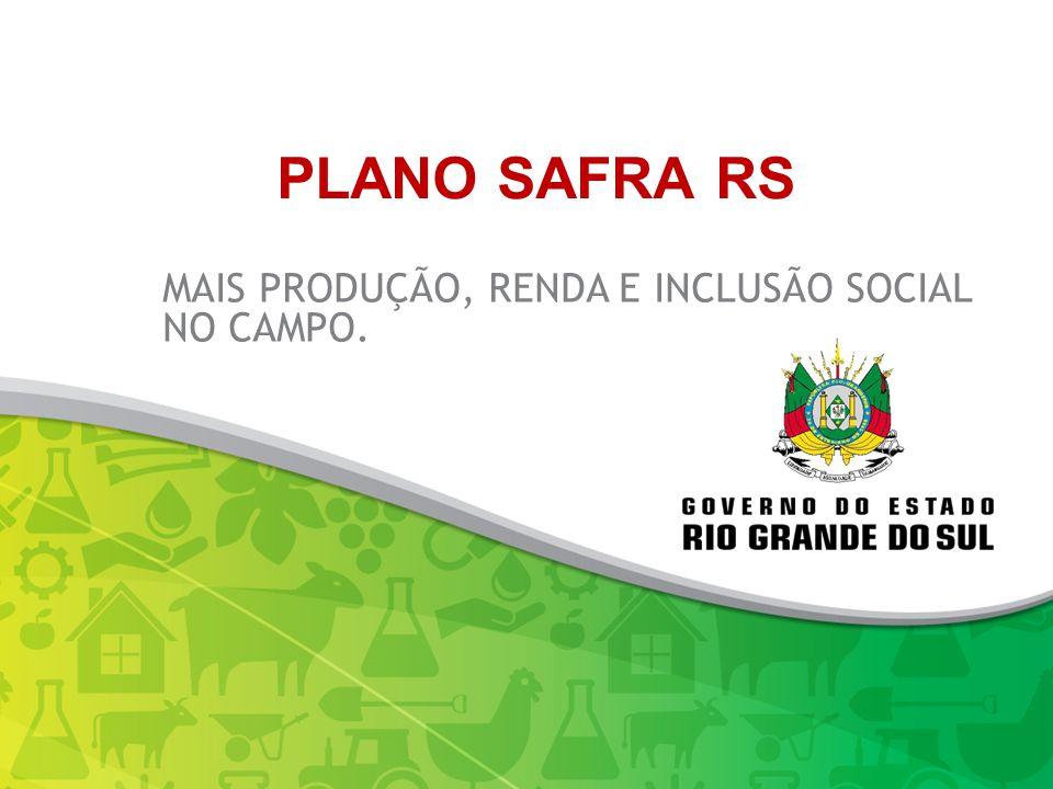 MAIS PRODUÇÃO, RENDA E INCLUSÃO SOCIAL NO CAMPO. PLANO SAFRA RS