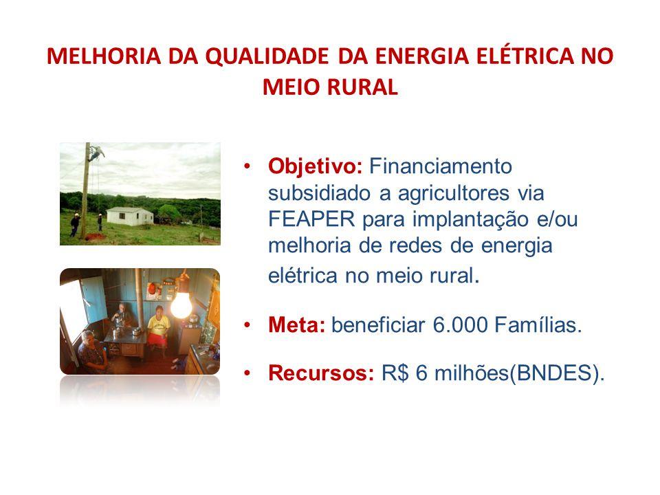 MELHORIA DA QUALIDADE DA ENERGIA ELÉTRICA NO MEIO RURAL Objetivo: Financiamento subsidiado a agricultores via FEAPER para implantação e/ou melhoria de redes de energia elétrica no meio rural.