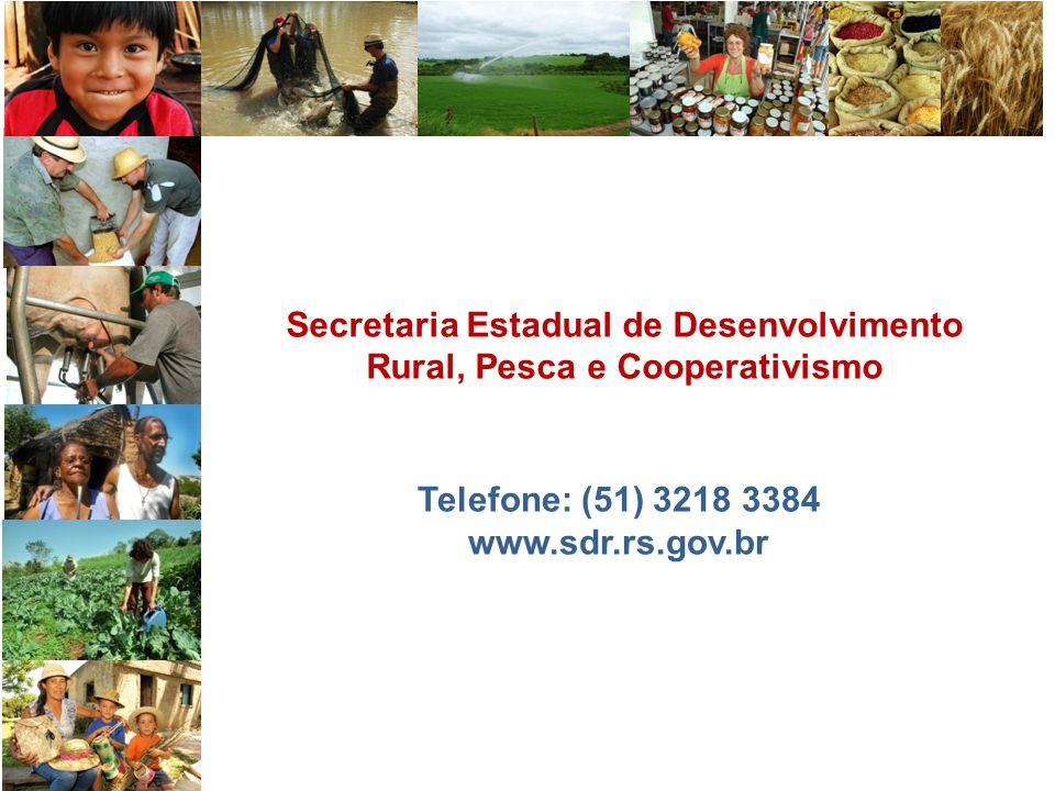 Secretaria Estadual de Desenvolvimento Rural, Pesca e Cooperativismo Telefone: (51) 3218 3384 www.sdr.rs.gov.br