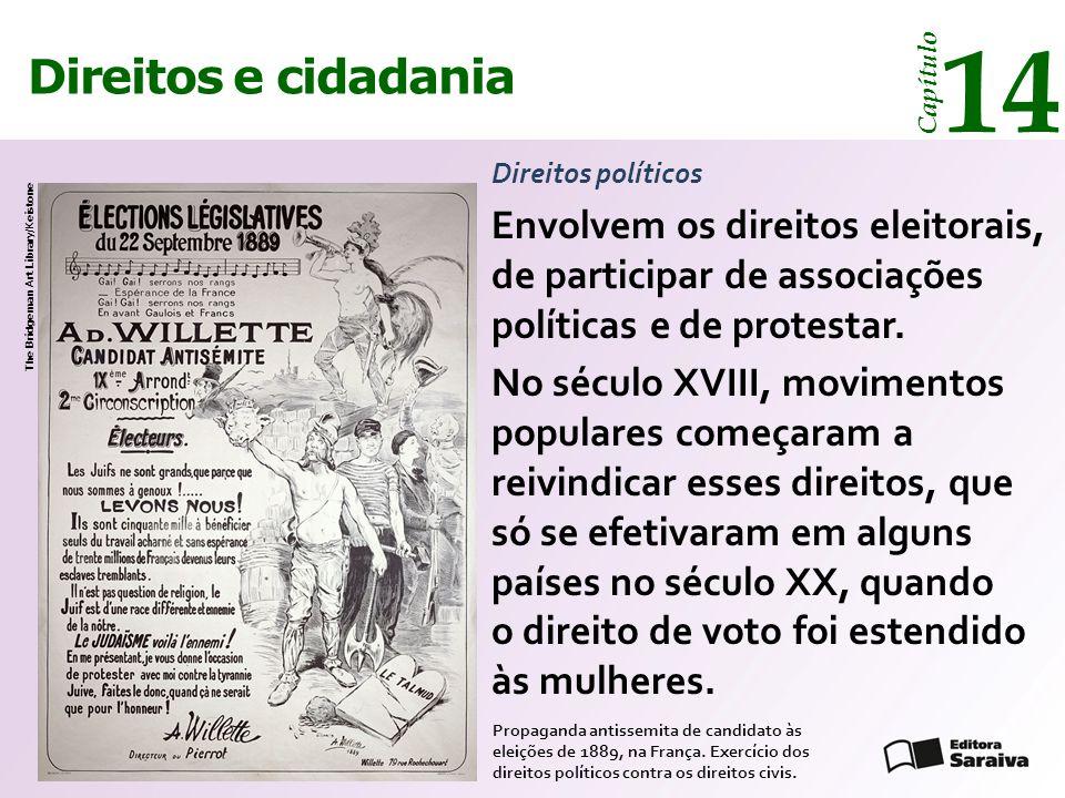Direitos e cidadania 14 Capítulo Direitos políticos Envolvem os direitos eleitorais, de participar de associações políticas e de protestar.