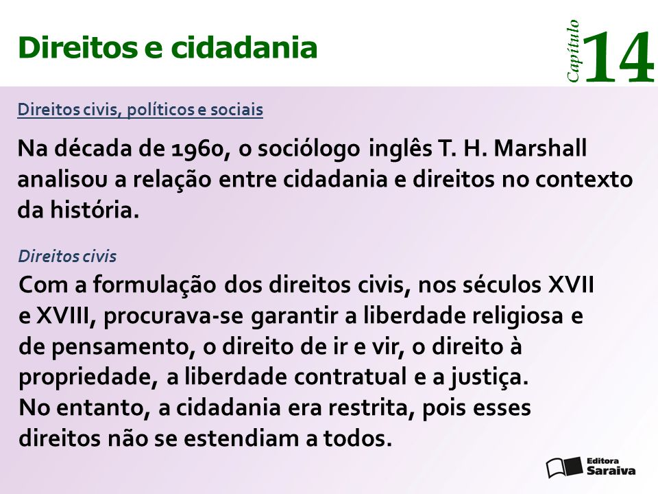 Direitos e cidadania 14 Capítulo Direitos civis, políticos e sociais Na década de 1960, o sociólogo inglês T.