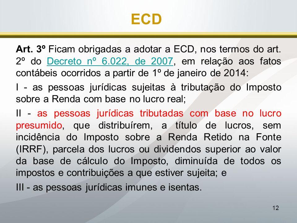 12 ECD Art. 3º Ficam obrigadas a adotar a ECD, nos termos do art. 2º do Decreto nº 6.022, de 2007, em relação aos fatos contábeis ocorridos a partir d