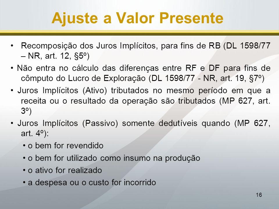 16 Ajuste a Valor Presente Recomposição dos Juros Implícitos, para fins de RB (DL 1598/77 – NR, art. 12, §5º) Não entra no cálculo das diferenças entr