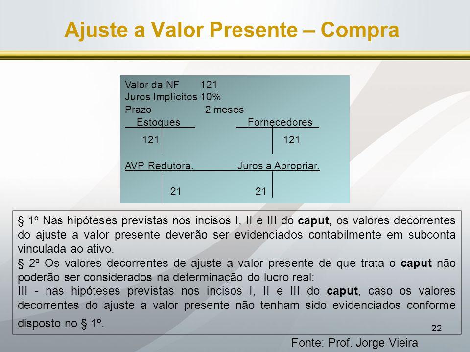 22 Ajuste a Valor Presente – Compra Fonte: Prof. Jorge Vieira Valor da NF 121 Juros Implícitos 10% Prazo 2 meses Estoques Fornecedores_ 121 121 AVP Re