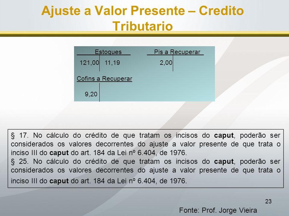 23 Ajuste a Valor Presente – Credito Tributario Fonte: Prof. Jorge Vieira Estoques Pis a Recuperar_ 121,00 11,19 2,00 Cofins a Recuperar 9,20 § 17. No