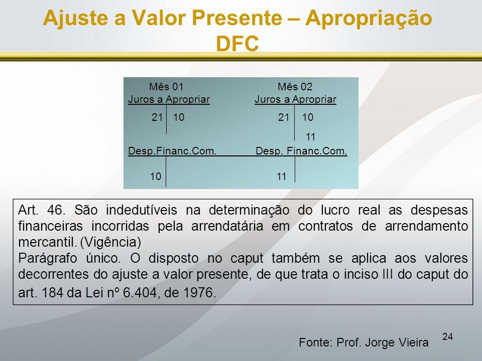 24 Ajuste a Valor Presente – Apropriação DFC Fonte: Prof. Jorge Vieira Mês 01 Mês 02 Juros a Apropriar 21 10 21 10 11 Desp.Financ.Com. Desp. Financ.Co