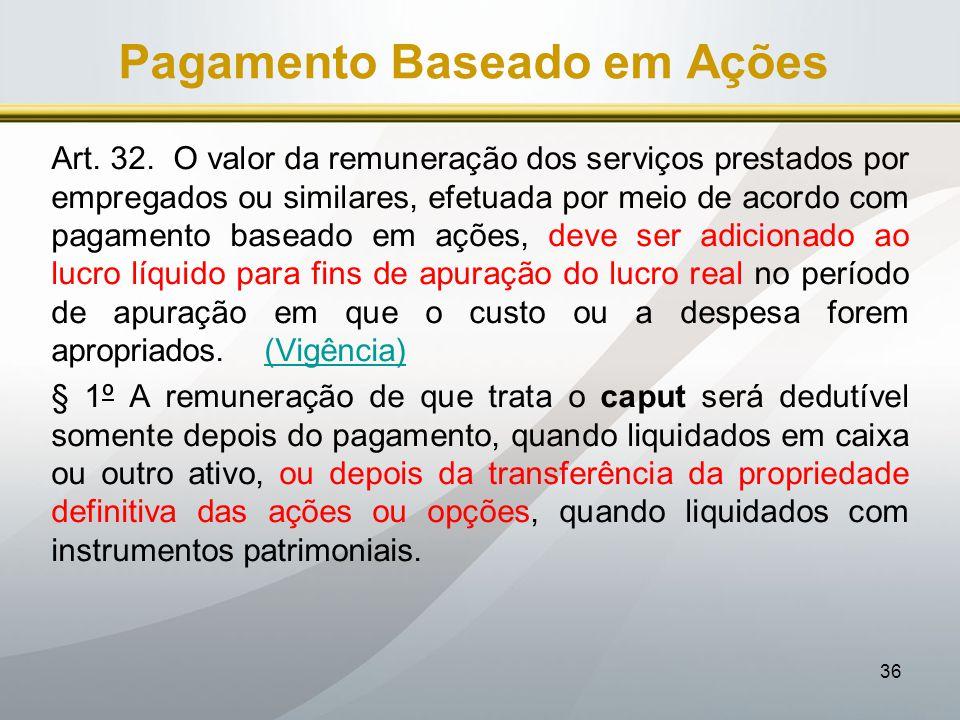 36 Pagamento Baseado em Ações Art. 32. O valor da remuneração dos serviços prestados por empregados ou similares, efetuada por meio de acordo com paga