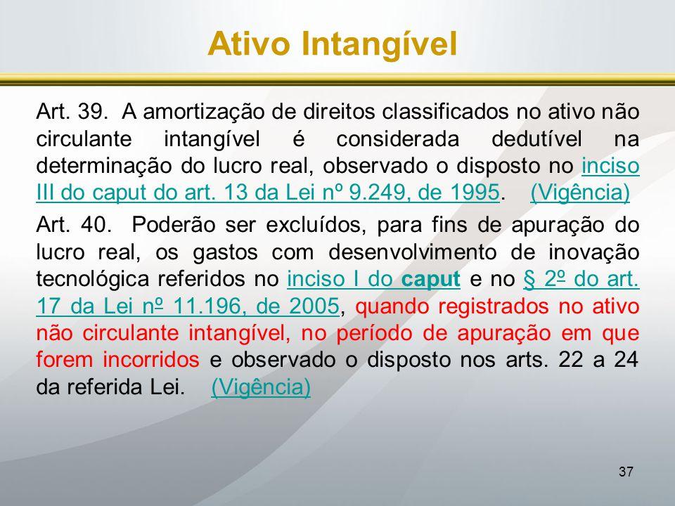 37 Ativo Intangível Art. 39. A amortização de direitos classificados no ativo não circulante intangível é considerada dedutível na determinação do luc
