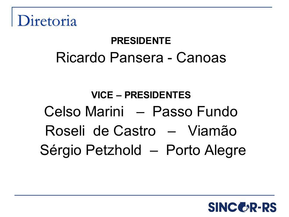 Diretoria PRESIDENTE Ricardo Pansera - Canoas VICE – PRESIDENTES Celso Marini – Passo Fundo Roseli de Castro – Viamão Sérgio Petzhold – Porto Alegre