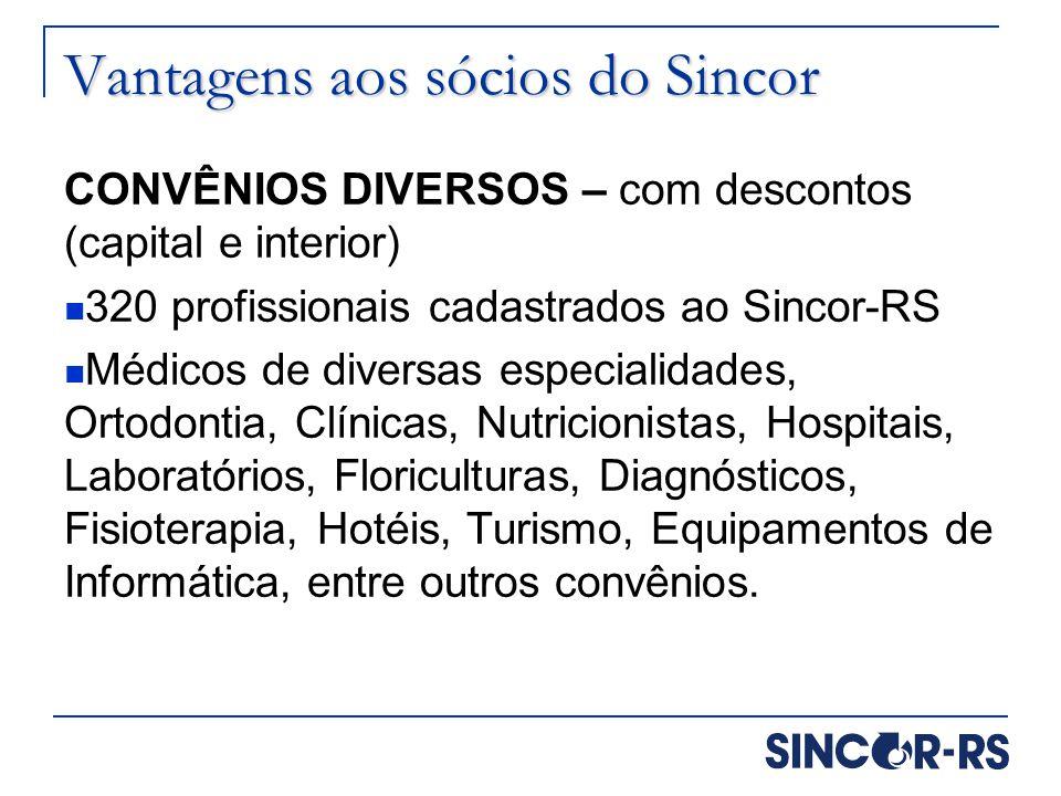 Vantagens aos sócios do Sincor CONVÊNIOS DIVERSOS – com descontos (capital e interior) 320 profissionais cadastrados ao Sincor-RS Médicos de diversas