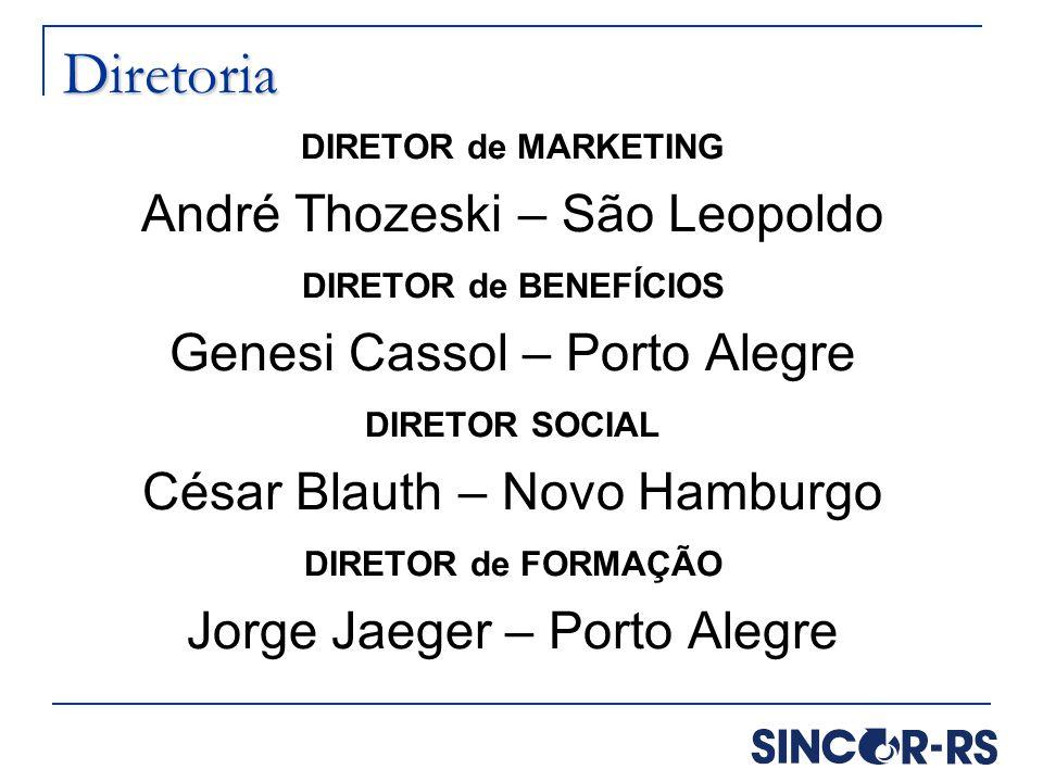 Diretoria DIRETOR de MARKETING André Thozeski – São Leopoldo DIRETOR de BENEFÍCIOS Genesi Cassol – Porto Alegre DIRETOR SOCIAL César Blauth – Novo Ham