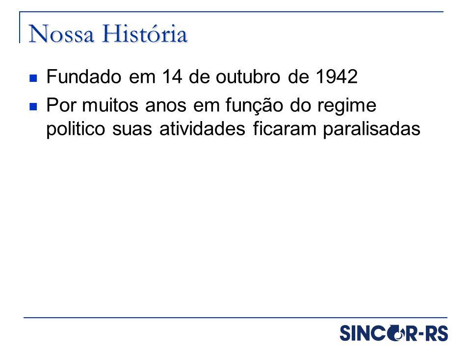 Nossa História Fundado em 14 de outubro de 1942 Por muitos anos em função do regime politico suas atividades ficaram paralisadas