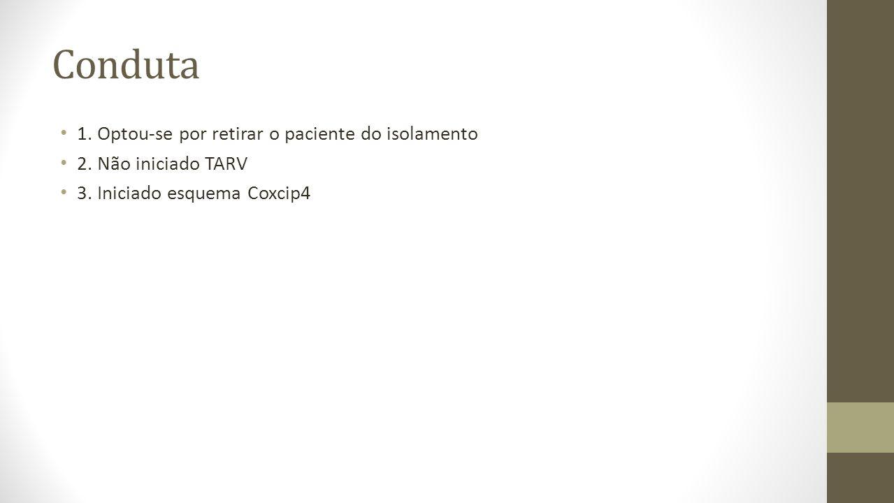 Conduta 1. Optou-se por retirar o paciente do isolamento 2. Não iniciado TARV 3. Iniciado esquema Coxcip4