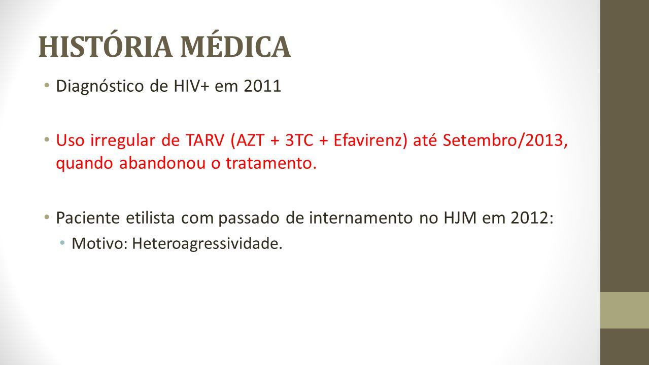 HISTÓRIA MÉDICA Diagnóstico de HIV+ em 2011 Uso irregular de TARV (AZT + 3TC + Efavirenz) até Setembro/2013, quando abandonou o tratamento. Paciente e