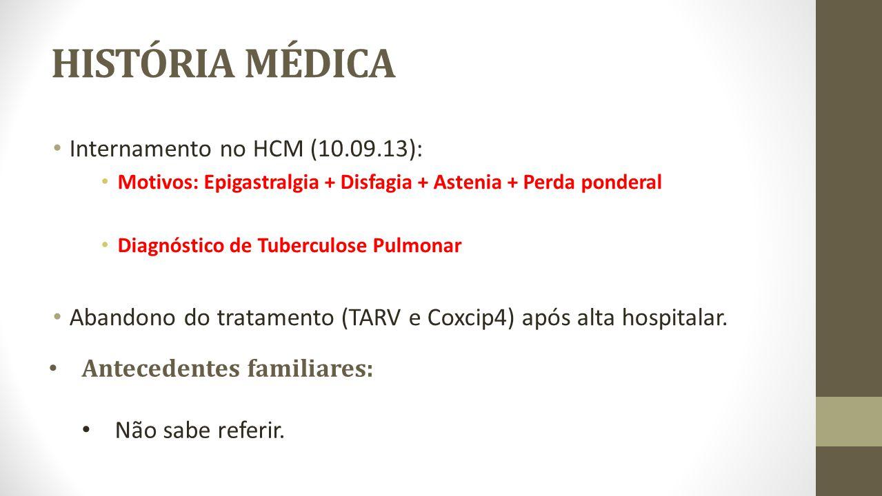 HISTÓRIA MÉDICA Internamento no HCM (10.09.13): Motivos: Epigastralgia + Disfagia + Astenia + Perda ponderal Diagnóstico de Tuberculose Pulmonar Aband