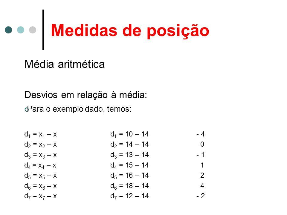 Medidas de posição Média aritmética Desvios em relação à média: Para o exemplo dado, temos: d 1 = x 1 – xd 1 = 10 – 14- 4 d 2 = x 2 – xd 2 = 14 – 14 0 d 3 = x 3 – xd 3 = 13 – 14 - 1 d 4 = x 4 – x d 4 = 15 – 14 1 d 5 = x 5 – x d 5 = 16 – 14 2 d 6 = x 6 – x d 6 = 18 – 14 4 d 7 = x 7 – x d 7 = 12 – 14- 2