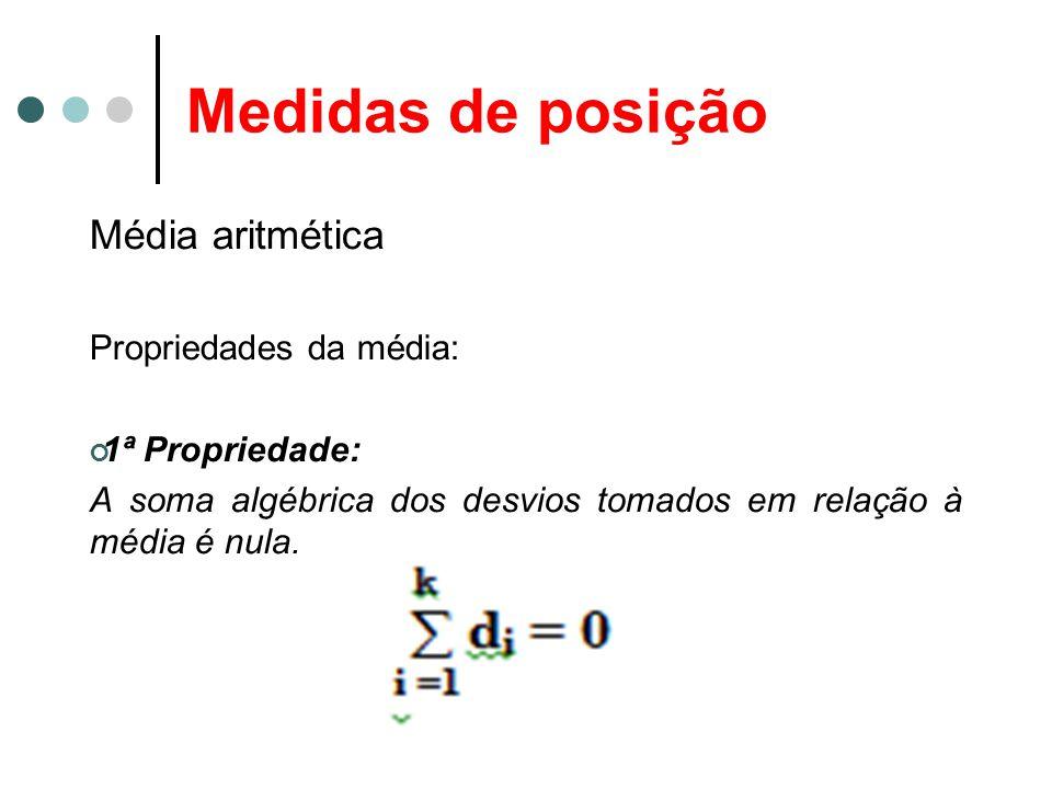 Medidas de posição Média aritmética Propriedades da média: 1ª Propriedade: A soma algébrica dos desvios tomados em relação à média é nula.