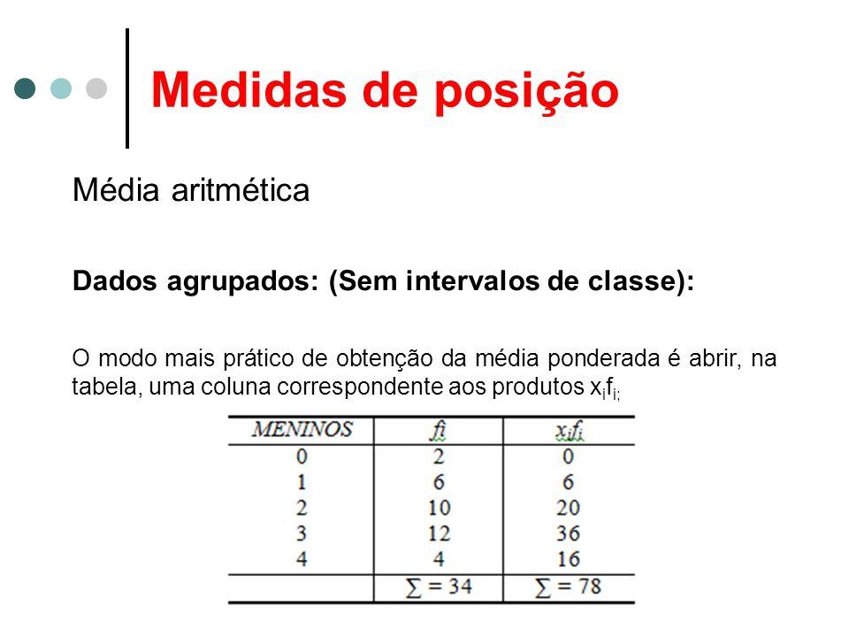 Medidas de posição Média aritmética Dados agrupados: (Sem intervalos de classe): O modo mais prático de obtenção da média ponderada é abrir, na tabela, uma coluna correspondente aos produtos x i f i;