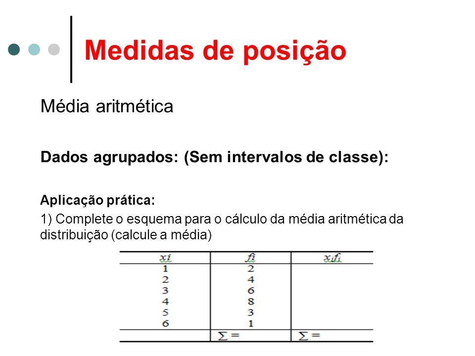 Medidas de posição Média aritmética Dados agrupados: (Sem intervalos de classe): Aplicação prática: 1) Complete o esquema para o cálculo da média aritmética da distribuição (calcule a média)