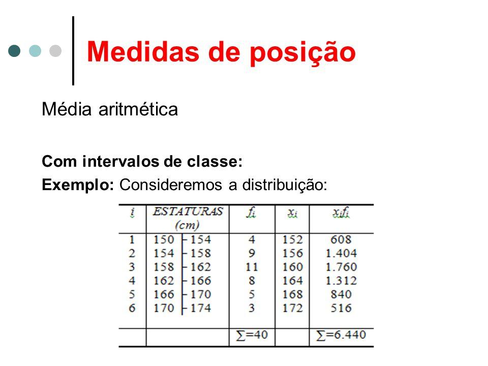 Medidas de posição Média aritmética Com intervalos de classe: Exemplo: Consideremos a distribuição: