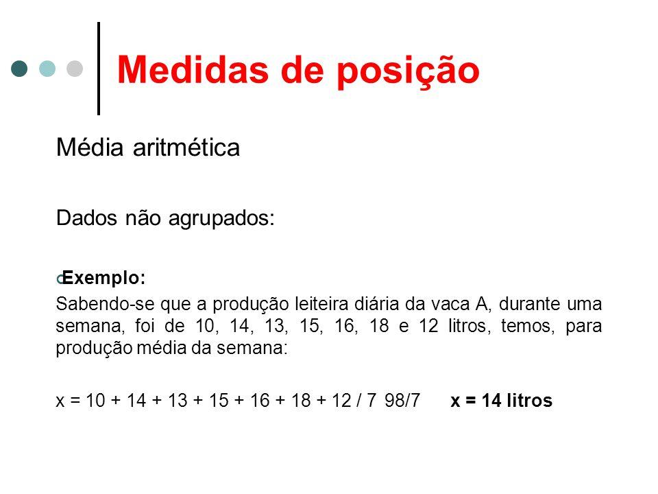 Medidas de posição Média aritmética Dados agrupados: (Sem intervalos de classe): Neste caso, como as freqüências são números indicadores da intensidade de cada valor da variável, elas funcionam como fatores de ponderação, o que nos leva a calcular a média aritmética ponderada, dada pela fórmula: