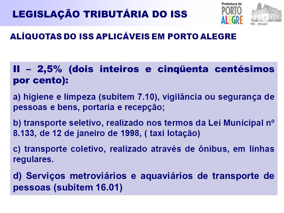 LEGISLAÇÃO TRIBUTÁRIA DO ISS ALÍQUOTAS DO ISS APLICÁVEIS EM PORTO ALEGRE II – 2,5% (dois inteiros e cinqüenta centésimos por cento): a) higiene e limp