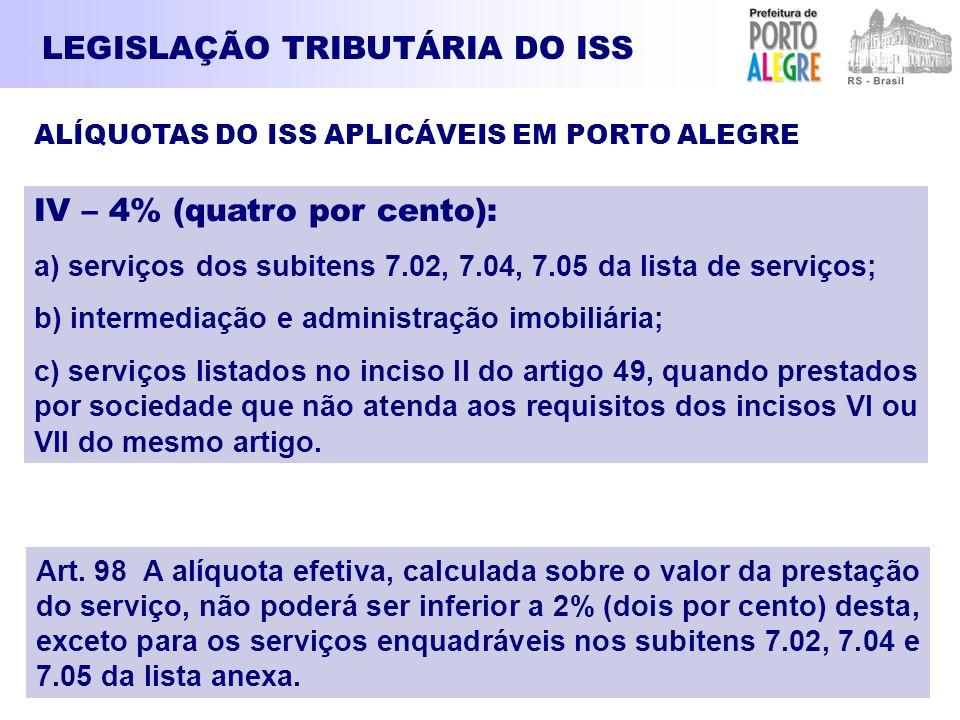 LEGISLAÇÃO TRIBUTÁRIA DO ISS ALÍQUOTAS DO ISS APLICÁVEIS EM PORTO ALEGRE IV – 4% (quatro por cento): a) serviços dos subitens 7.02, 7.04, 7.05 da list
