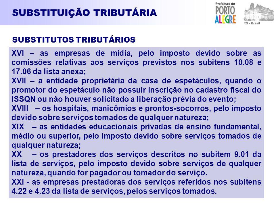 SUBSTITUIÇÃO TRIBUTÁRIA XVI – as empresas de mídia, pelo imposto devido sobre as comissões relativas aos serviços previstos nos subitens 10.08 e 17.06