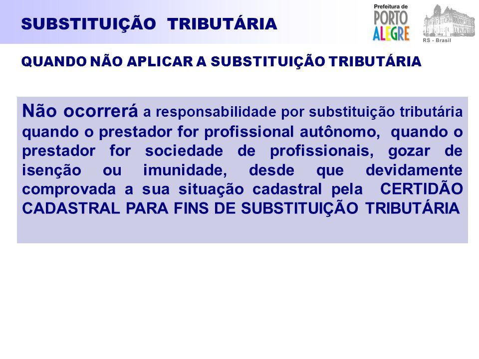SUBSTITUIÇÃO TRIBUTÁRIA Não ocorrerá a responsabilidade por substituição tributária quando o prestador for profissional autônomo, quando o prestador f
