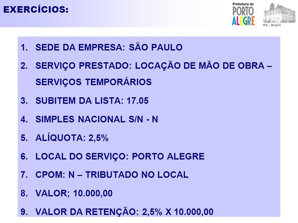 EXERCÍCIOS: 1.SEDE DA EMPRESA: SÃO PAULO 2.SERVIÇO PRESTADO: LOCAÇÃO DE MÃO DE OBRA – SERVIÇOS TEMPORÁRIOS 3.SUBITEM DA LISTA: 17.05 4.SIMPLES NACIONA