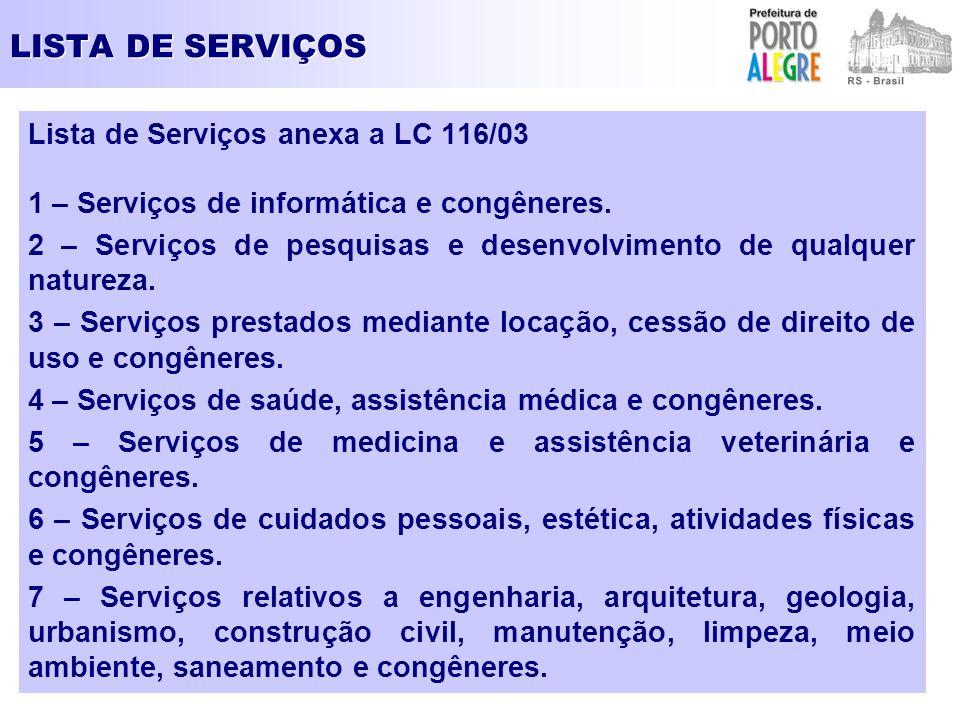 LISTA DE SERVIÇOS Lista de Serviços anexa a LC 116/03 1 – Serviços de informática e congêneres. 2 – Serviços de pesquisas e desenvolvimento de qualque
