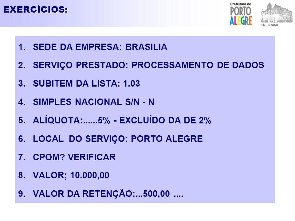 EXERCÍCIOS: 1.SEDE DA EMPRESA: BRASILIA 2.SERVIÇO PRESTADO: PROCESSAMENTO DE DADOS 3.SUBITEM DA LISTA: 1.03 4.SIMPLES NACIONAL S/N - N 5.ALÍQUOTA:....