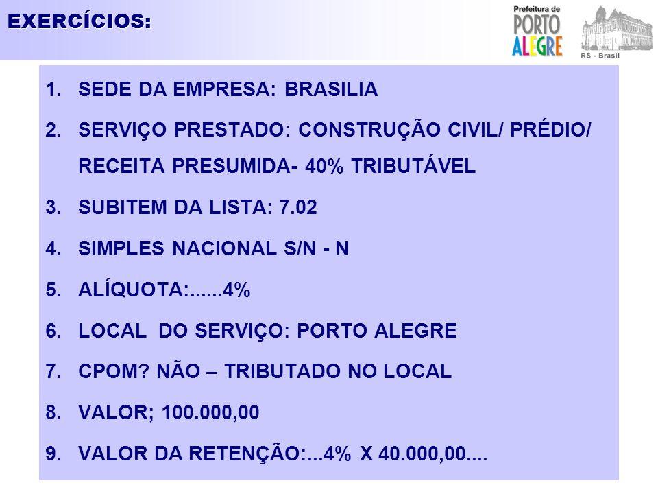 EXERCÍCIOS: 1.SEDE DA EMPRESA: BRASILIA 2.SERVIÇO PRESTADO: CONSTRUÇÃO CIVIL/ PRÉDIO/ RECEITA PRESUMIDA- 40% TRIBUTÁVEL 3.SUBITEM DA LISTA: 7.02 4.SIM