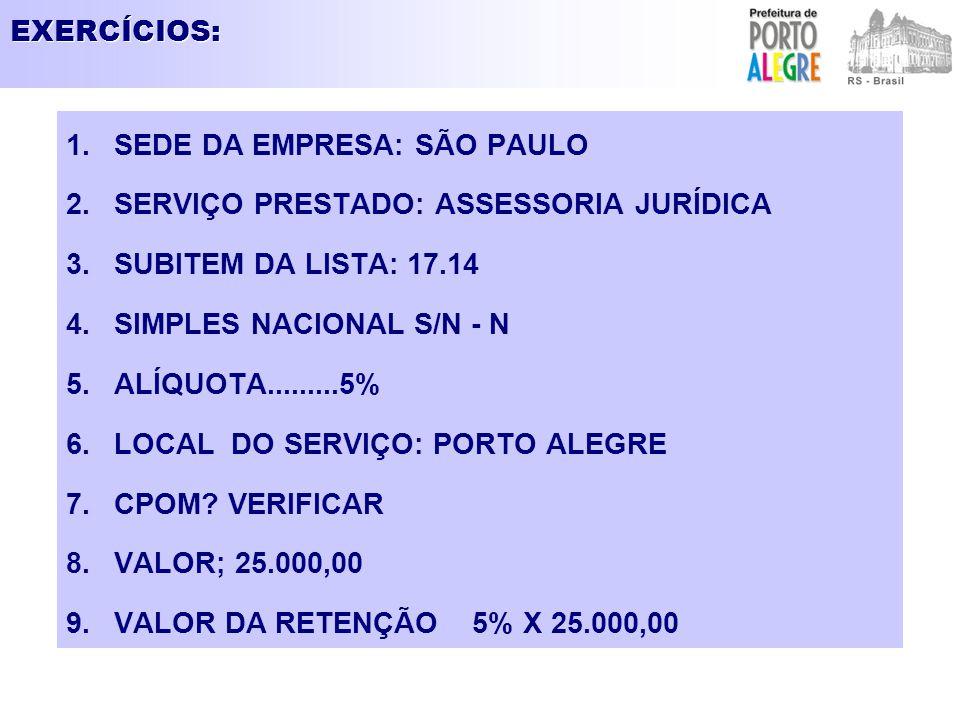 EXERCÍCIOS: 1.SEDE DA EMPRESA: SÃO PAULO 2.SERVIÇO PRESTADO: ASSESSORIA JURÍDICA 3.SUBITEM DA LISTA: 17.14 4.SIMPLES NACIONAL S/N - N 5.ALÍQUOTA......