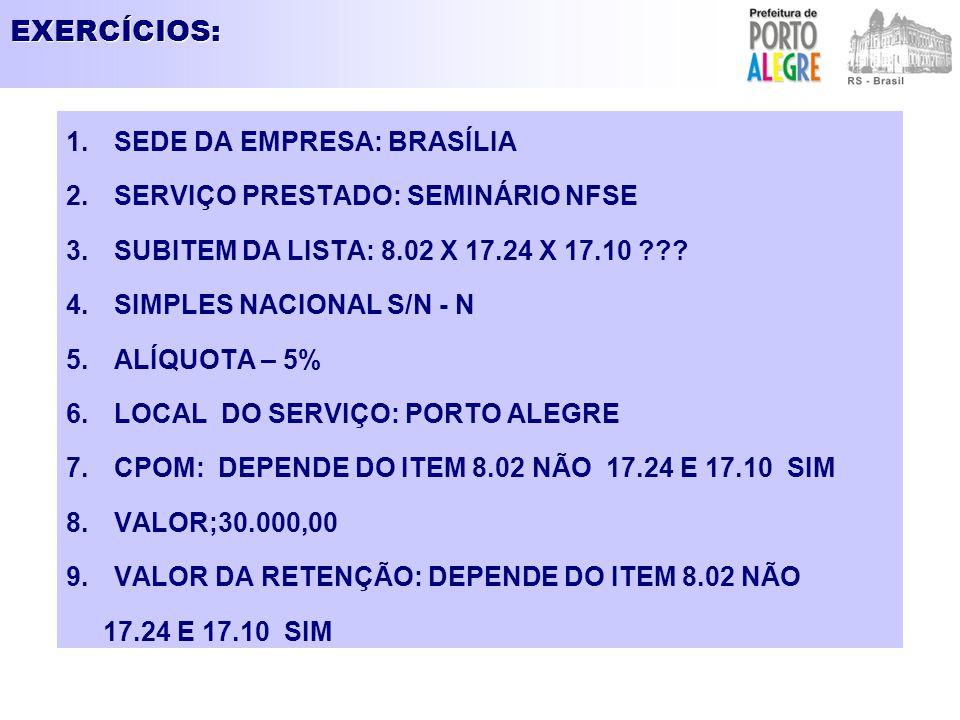 EXERCÍCIOS: 1.SEDE DA EMPRESA: BRASÍLIA 2.SERVIÇO PRESTADO: SEMINÁRIO NFSE 3.SUBITEM DA LISTA: 8.02 X 17.24 X 17.10 ??? 4.SIMPLES NACIONAL S/N - N 5.A
