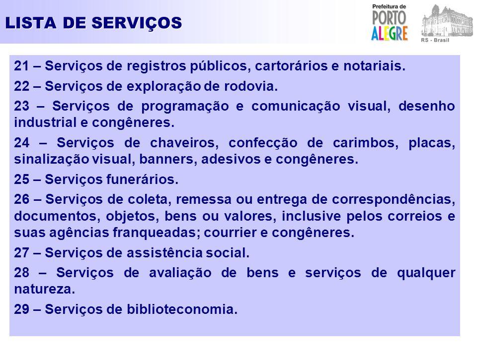 LISTA DE SERVIÇOS 21 – Serviços de registros públicos, cartorários e notariais. 22 – Serviços de exploração de rodovia. 23 – Serviços de programação e
