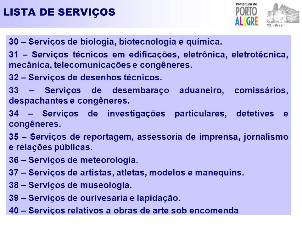 LISTA DE SERVIÇOS 30 – Serviços de biologia, biotecnologia e química. 31 – Serviços técnicos em edificações, eletrônica, eletrotécnica, mecânica, tele