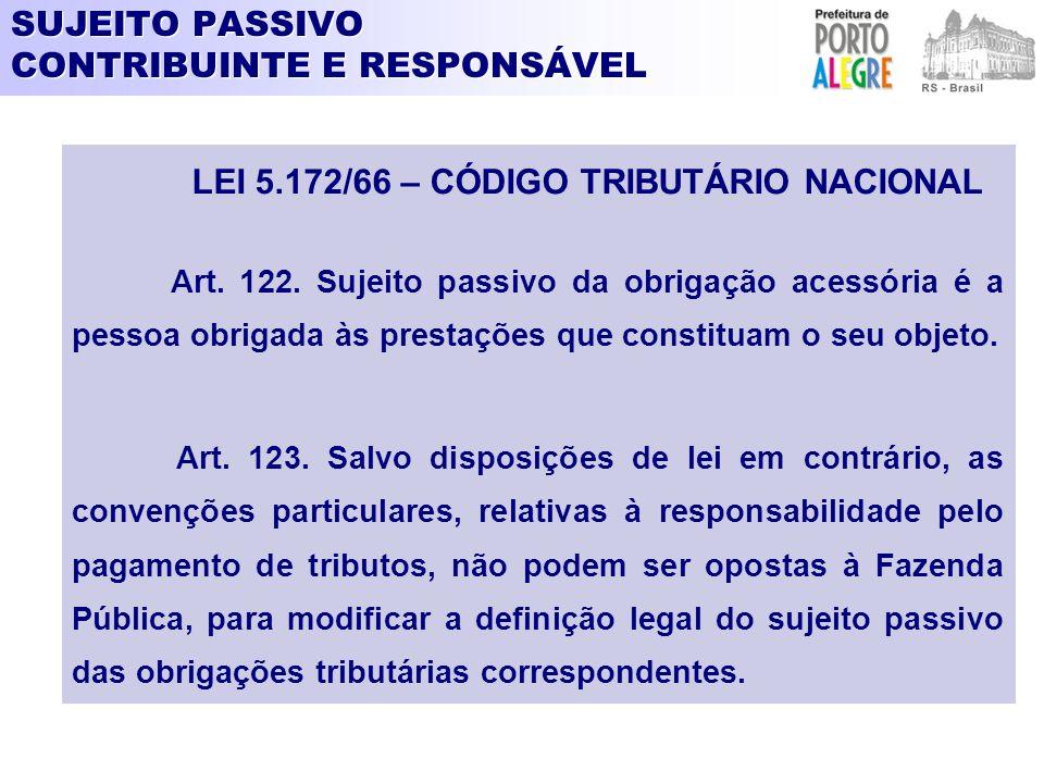 SUJEITO PASSIVO CONTRIBUINTE E RESPONSÁVEL LEI 5.172/66 – CÓDIGO TRIBUTÁRIO NACIONAL Art. 122. Sujeito passivo da obrigação acessória é a pessoa obrig