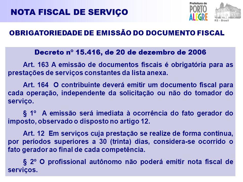 NOTA FISCAL DE SERVIÇO OBRIGATORIEDADE DE EMISSÃO DO DOCUMENTO FISCAL Decreto nº 15.416, de 20 de dezembro de 2006 Art. 163 A emissão de documentos fi